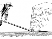 An image of a man using a lever to move a box