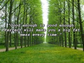 "An avenue of trees with a quote: ""Good enough is good enough. Perfect will make you a big fat mess every time."""